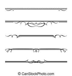elementos decorativos, borda, e, página, regras