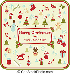 elementos decorativos, cartão natal