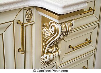 elementos decorativos, de, muebles