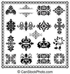 elementos decorativos, desenho, (black)
