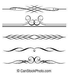 elementos decorativos, frontera, y, página, reglas