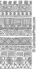 elementos decorativos, tribal, pattern., seamless, geométrico, vetorial, experiência preta, desenhado, branca, mão