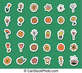 elementos decorativos, vendimia, set., mano, diseño, dibujado, flores