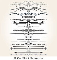 elementos decorativos, vetorial, regra, lines., desenho