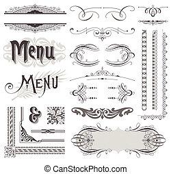 elementos decorativos, y, calligraphic, vector, diseño, decoraciones, florido, página