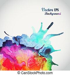 elementos, desenhado, ilustração, texto, abstratos, espaço, fundo, mão, aquarela, message., cores, paper., aquarelas, molhados, scrapbook, mancha, composição, vazio