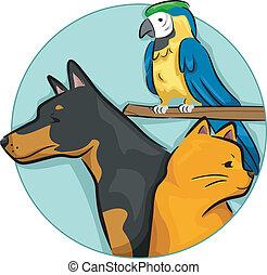 elementos, desenho, animais estimação