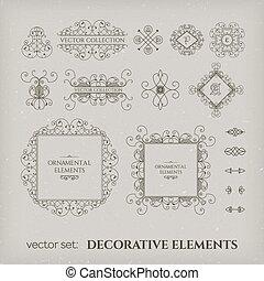 elementos, desenho, calligraphic