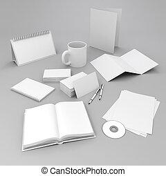 elementos, desenho, em branco, incorporado, id, 3d