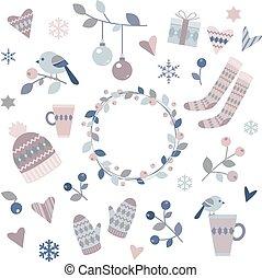 elementos, desenho, inverno