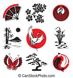 elementos, desenho, japoneses