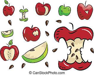 elementos, desenho, maçã