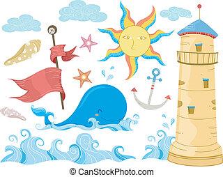 elementos, desenho, mar