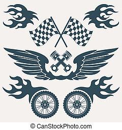 elementos, desenho, motocicleta