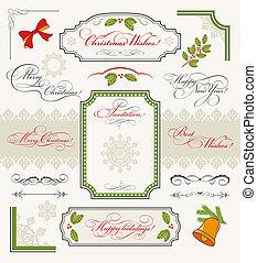 elementos, desenho, natal, cobrança, calligraphic