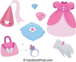 elementos, desenho, princesa