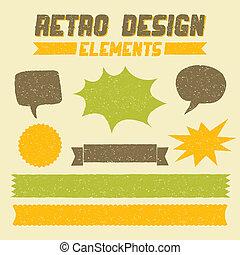 elementos, desenho, retro, cobrança