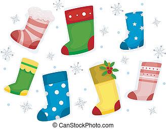 elementos, desenho, snowflakes, meias, natal