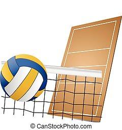 elementos, desenho, voleibol