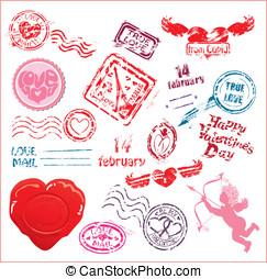 elementos, dia, amor, ou, valentineçs, set., postmarks-, -, casório, cobrança, desenho, taxa postal, correio