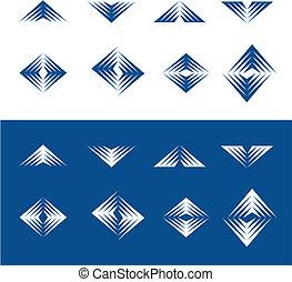 elementos, dinámico, -, 2, diseño, serie