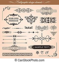 elementos, diseño, calligraphic