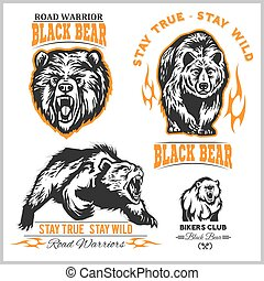elementos, diseño, deporte, oso, negro, emblema, logotipo, etiquetas, equipo