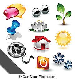elementos, diseño, iconos