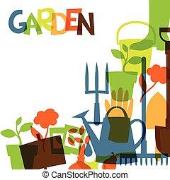 elementos, diseño, jardín, plano de fondo, iconos