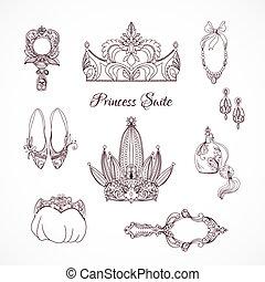 elementos, diseño, princesa