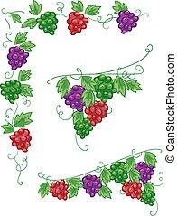 elementos, diseño, vides, uvas