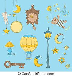 elementos, doce, -, desenho, bebê, scrapbook, sonhos