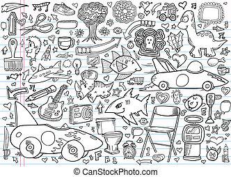 elementos, doodle, caderno, desenho