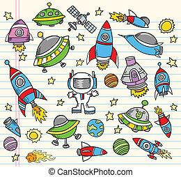 elementos, doodle, espaço, vetorial, exterior