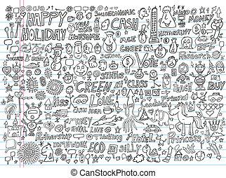 elementos, doodle, jogo, vetorial, desenho