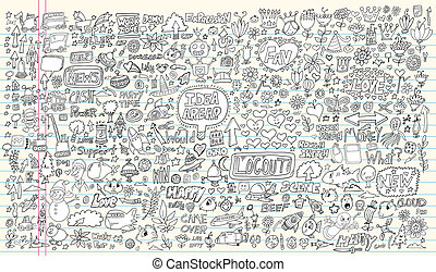 elementos, doodle, projeto fixo, caderno