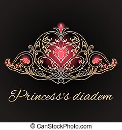 elementos, doodle, rainha, princesa, experiência., hand-drawn, crown., pretas, tiara, seu, design.