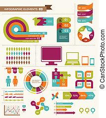 elementos, e, ícones, de, infographics