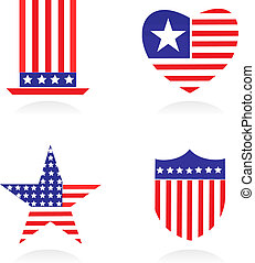 elementos, e, ícones, relatado, para, patriotismo americano, -, 1