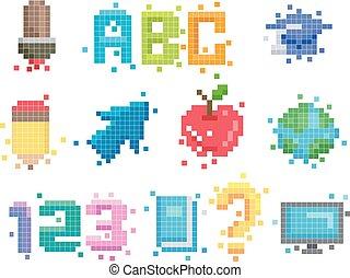 elementos, educação, arte, pixel, ilustração