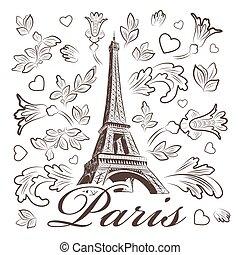 elementos, eiffel, ilustración, vector, floral, torre