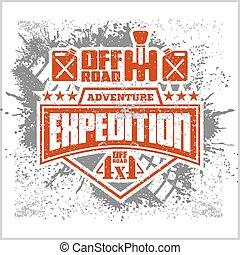elementos, emblema, expedição, fora-estrada, -, desenho, ...