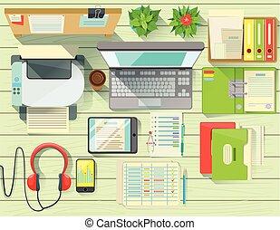 elementos, escritório, modernos, jogo, acima, escrivaninha, vista