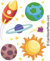 elementos, espacio exterior