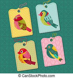 elementos, etiquetas, -, aves, vector, diseño, bebé, álbum de recortes, diseño