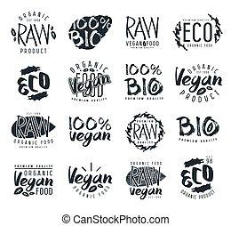 elementos, etiquetas, vegan, cru, desenho, emblemas
