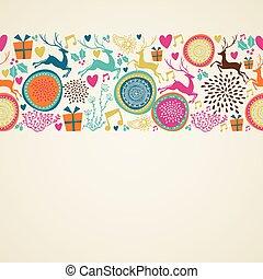elementos, feliz, ornamento, natal, vetorial, fundo, file.