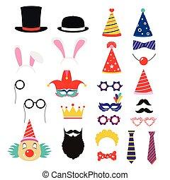 elementos, festivo, máscaras, óculos, partido aniversário, chapéus, props.
