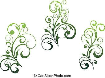 elementos florais, arabescos