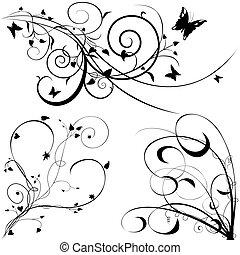 elementos florais, c